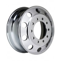 24.5 x 8.25 (10 HOLE HUB PILOT/UNI-MOUNT WHEEL, ALUMINUM POLISHED BOTH SIDES)