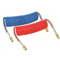 COILED AIR HOSE  SET15' (1/2in TUBE, 1/2in x 1/2in ENDS, PIGTAIL 6in TRACTOR, 6in TRAILER)(1-RED 1-BLUE)