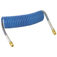 COILED AIR HOSE 15' (1/2in TUBE, 1/2in x 1/2in ENDS, PIGTAIL 6in TRACTOR, 6in TRAILER)(BLUE)