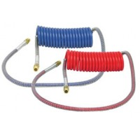 SET COILED AIR HOSE 15' (1/2in TUBE, 1/2in x 1/2in ENDS, PIGTAIL, 40in TRACTOR, 12in TRAILER)