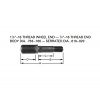 """LH DOUBLE END STUD (1 1/8""""-16 x 3/4""""-16) (BOX OF 10)"""