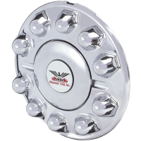 ONE FRONT CHROME PLASTIC HUB COVER 10 LUG, 225MM ALUMINUM WHEELS