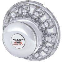 ONE REAR CHROME PLASTIC HUB COVER 10 LUG, 225MM ALUMINUM WHEELS