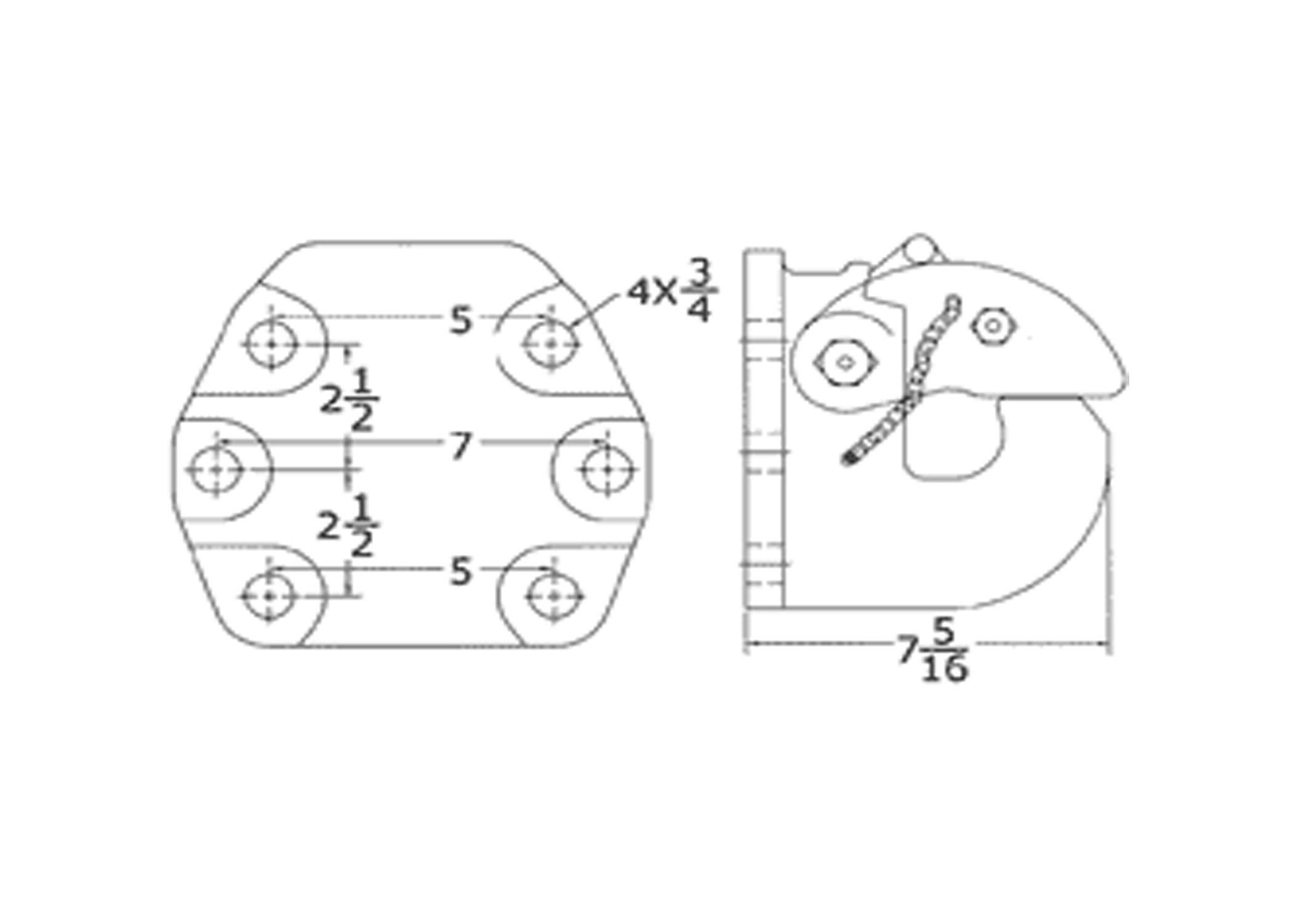 50 ton pintal hook offset six bolt with bracket